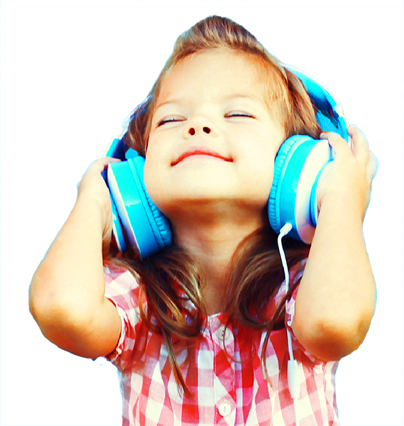 Young Girl With Headphones Listening To Music